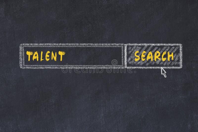 Kredowej deski nakreślenie wyszukiwarka Pojęcie szukać talent obrazy royalty free