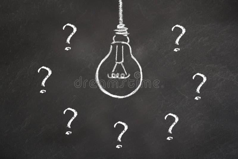 Kredowy żarówka pomysł z znak zapytania na blackboard royalty ilustracja