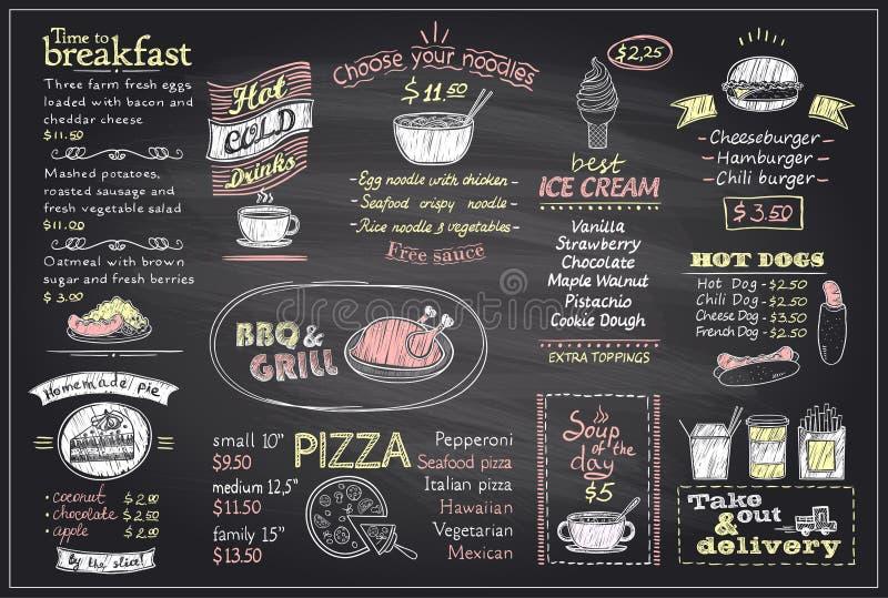 Kredowy menu listy blackboard projekt dla kawiarni lub restauraci ilustracja wektor