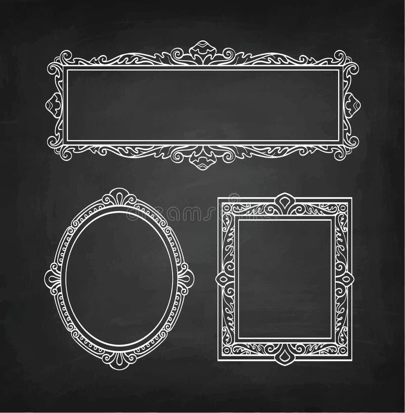 Kredowy nakreślenie rocznik ramy royalty ilustracja