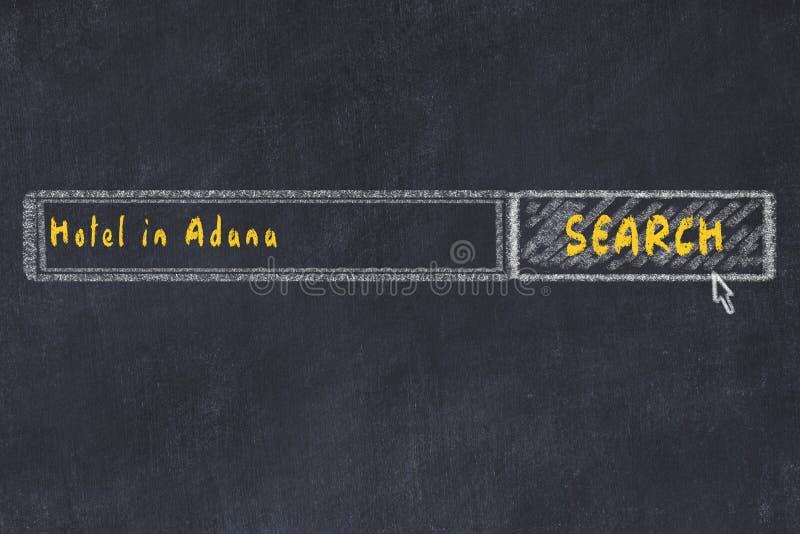 Kredowy nakreślenie wyszukiwarka Pojęcie gmeranie i rezerwacja hotel w Adana zdjęcie stock