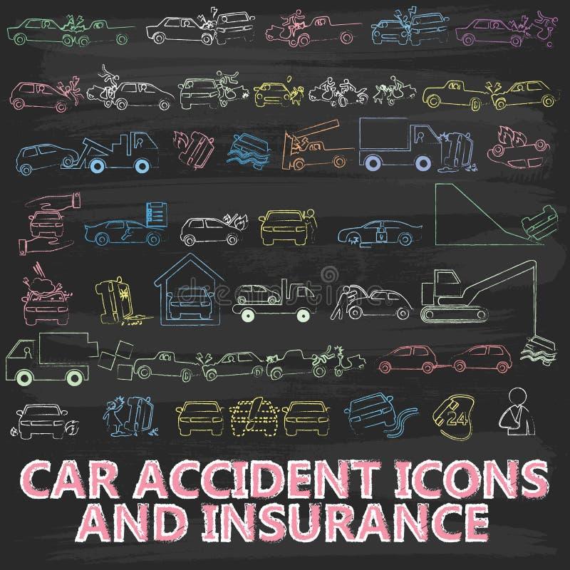 Kredowy obraz O ikony ubezpieczeniu samochodu