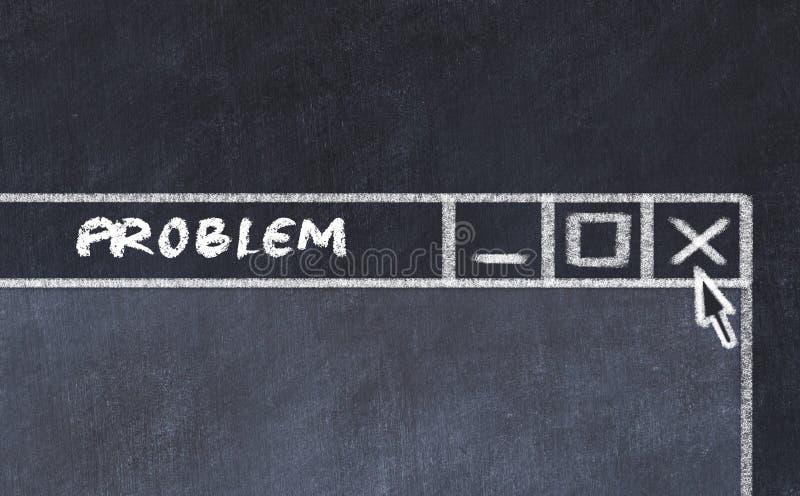 Kredowy rysunek okno na ekranie komputerowym Pojęcie powstrzymywanie problem ilustracji