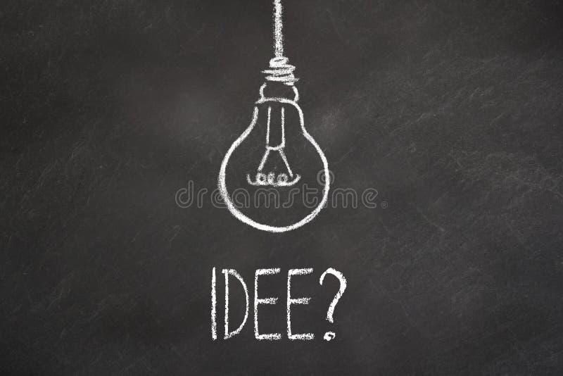 Kredowy tekst i lightbulb na chalkboard «Idea « Przekład: «pomysł « royalty ilustracja