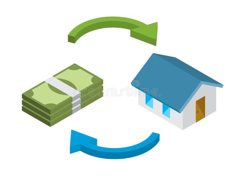 Kredyt mieszkaniowy, dom dla gotówkowego pojęcia obraz stock