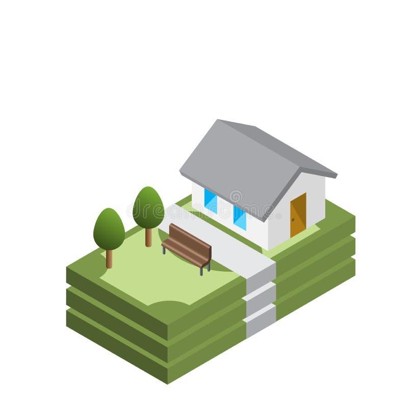 Kredyt mieszkaniowy, dom dla gotówkowego pojęcia, isometric wektor fotografia royalty free