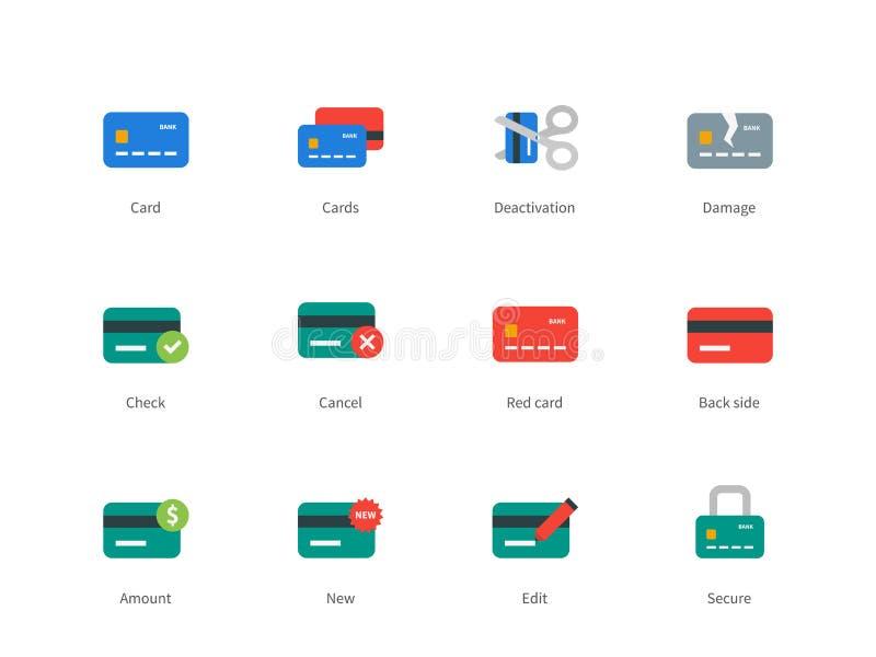 Kredyta i zapłaty karta barwił ikony na bielu royalty ilustracja