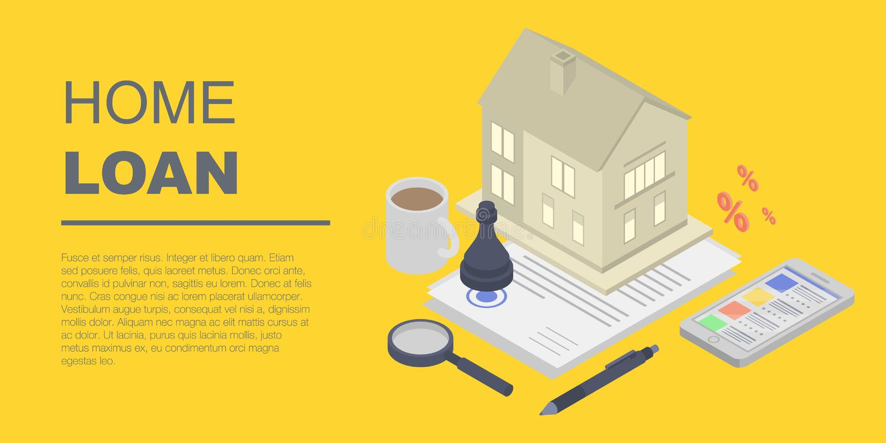 Kredyta mieszkaniowego pojęcia sztandar, isometric styl ilustracji