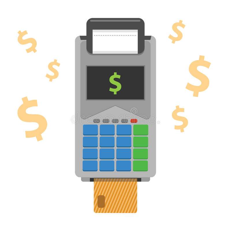 Kredytowa karciana maszyna Płaska ilustracja ilustracji