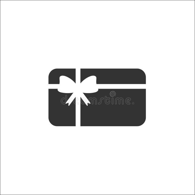 Kredytowa karta debetowa z łękiem i faborkiem Prezent karty ikona Bank teraźniejszości znak ilustracja wektor