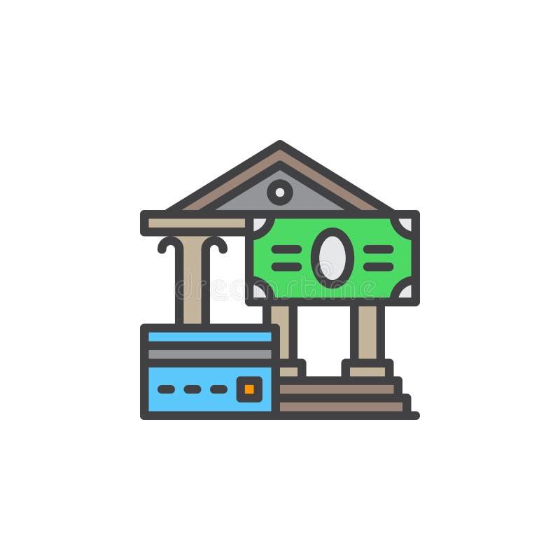 Kredytowa karta i płatności gotówkowe wykładamy ikonę, wypełniający konturu wektoru znak, liniowy kolorowy piktogram odizolowywaj ilustracja wektor