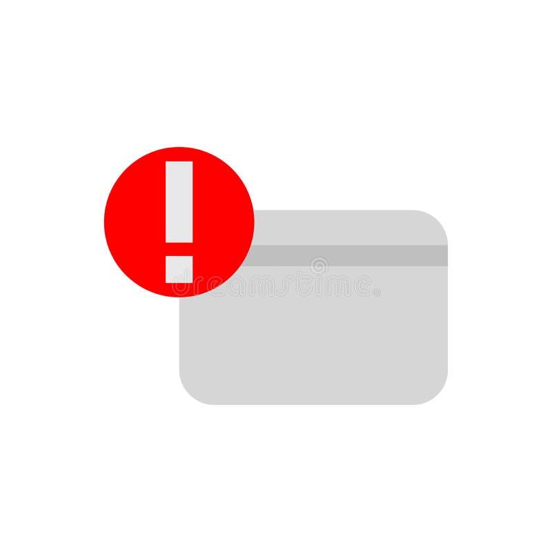 Kredytowa karta ostrzega ciemne płaskie ikony ilustracja wektor