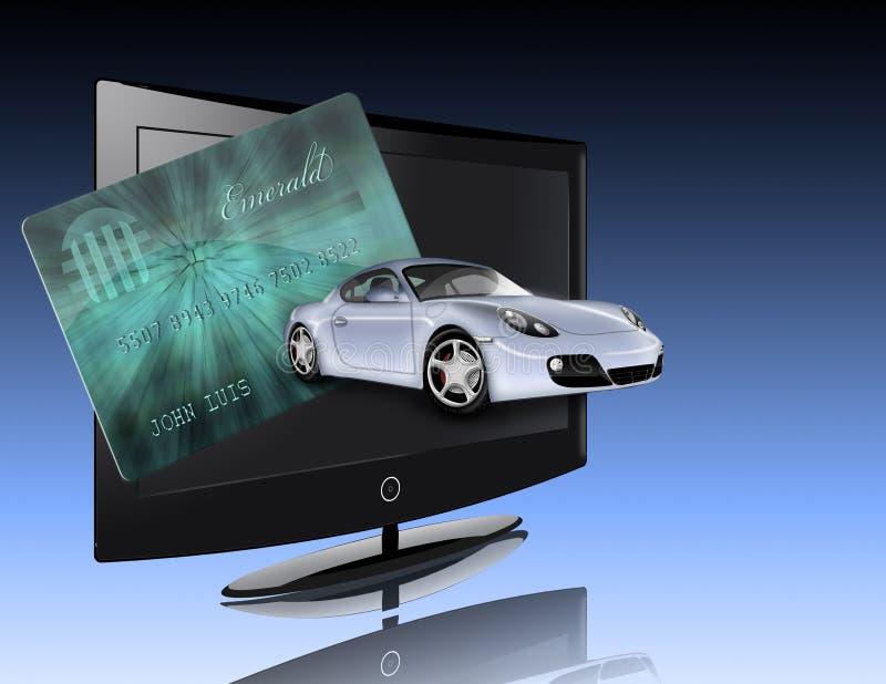 Kredytowa karta, samochód, płaski ekran ilustracja wektor