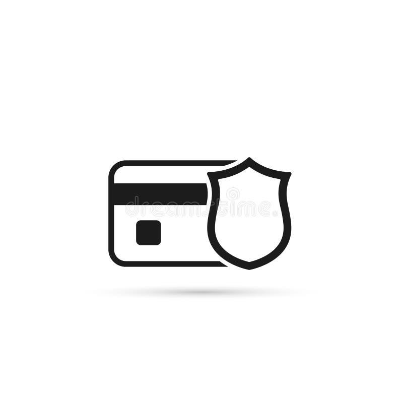 Kredytowa karta z osłona wektoru ikoną Bank karty ochrony ilustracja zdjęcie stock