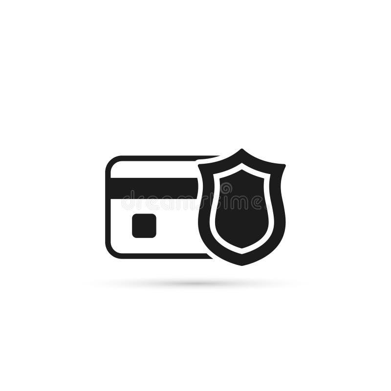 Kredytowa karta z osłona wektoru ikoną Bank karty ochrony pojęcie zdjęcia royalty free