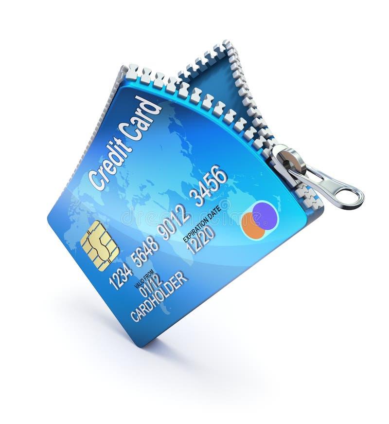 Kredytowa karta z suwaczkiem ilustracja wektor