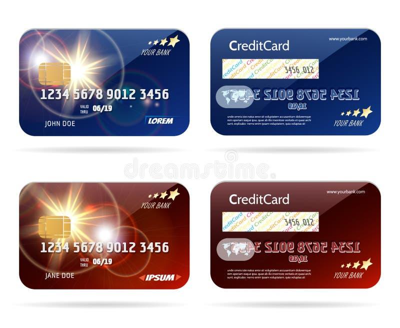 Kredytowa karta z układ scalony ikonami ilustracja wektor