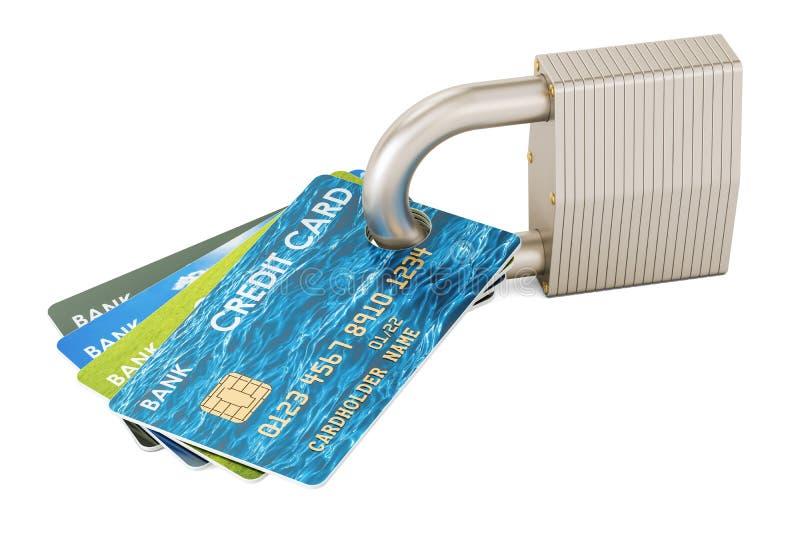 Kredytowe karty i kłódka, ochrony zapłaty pojęcie świadczenia 3 d ilustracji