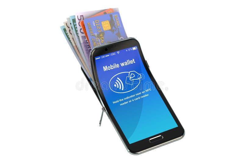 Kredytowe karty i pieniądze w telefonie komórkowym, NFC pojęcie - ludzki charakter - 3d rend ilustracji