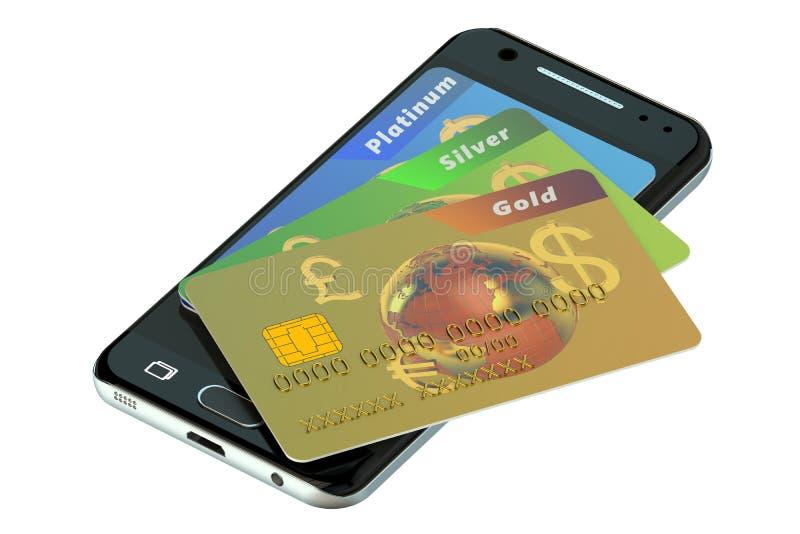 Kredytowe karty i telefon komórkowy royalty ilustracja