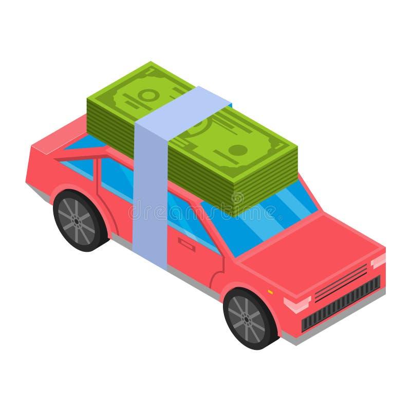 Kredytowego pieniądze samochodowa ikona, isometric styl ilustracja wektor