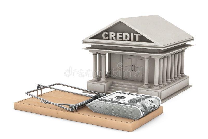 Kredytowego ryzyka pojęcie Mysz oklepiec z pieniądze przeciw banka budynkowi ilustracji