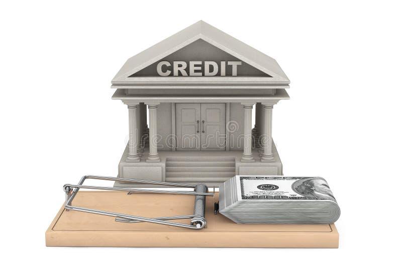 Kredytowego ryzyka pojęcie Mysz oklepiec z pieniądze przeciw banka budynkowi ilustracja wektor