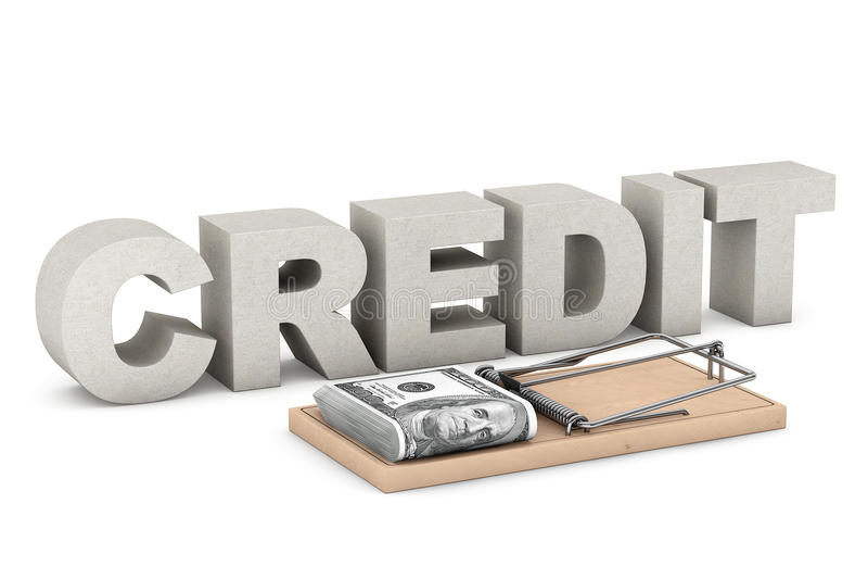 Kredytowego ryzyka pojęcie Mysz oklepiec z pieniądze przeciw Kredytowemu znakowi ilustracja wektor