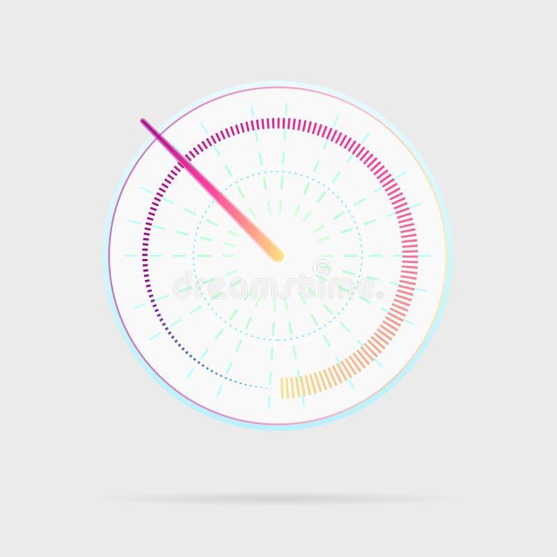 Kredytowego wynika wskaźnika ikona Szybkościomierz dla deski rozdzielczej Wymierniki z pomiarową skalą Władza metry, internet prę royalty ilustracja