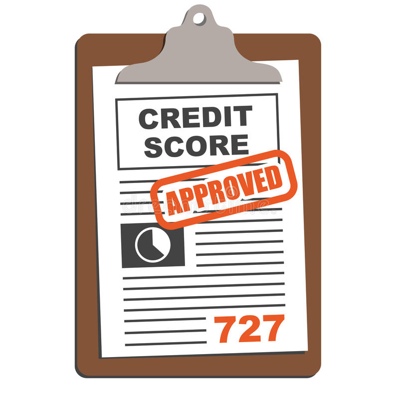 Kredytowego wynika Zatwierdzona grafika ilustracja wektor