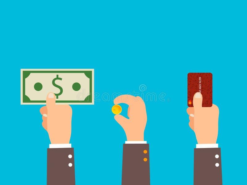 Kredytowej karty finanse pieniądze zapłaty pojęcie Biznesmen wręcza mienie banka karty, monety, portfel i banknoty, royalty ilustracja