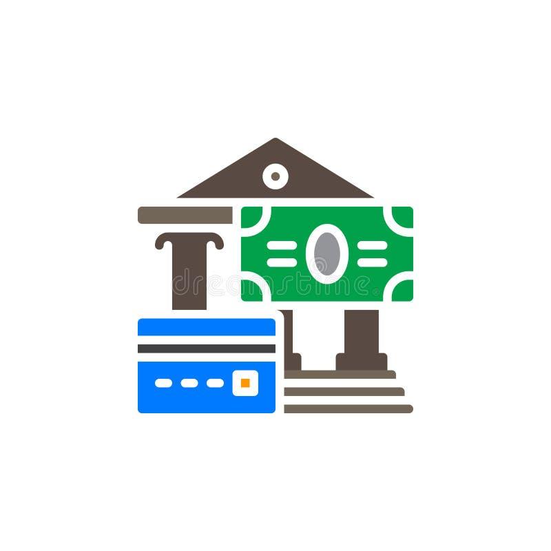 Kredytowej karty i płatności gotówkowych ikony wektor, wypełniający mieszkanie znak, stały kolorowy piktogram odizolowywający na  royalty ilustracja