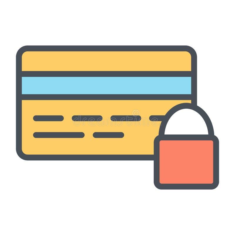 Kredytowej karty ochrona z kędziorka piksla Perfect wektorem Cienkim ilustracja wektor