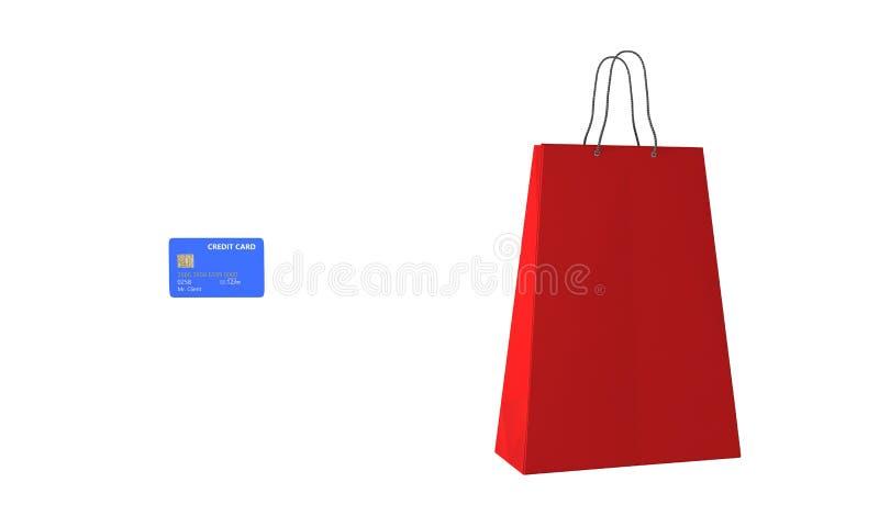 Kredytowej karty torba na zakupy na bielu, 3d odpłaca się royalty ilustracja