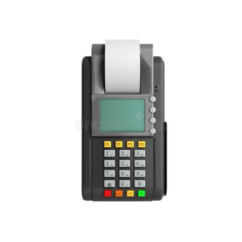 Kredytowej karty trminal Maszynowy 3D rendering na bielu ilustracji