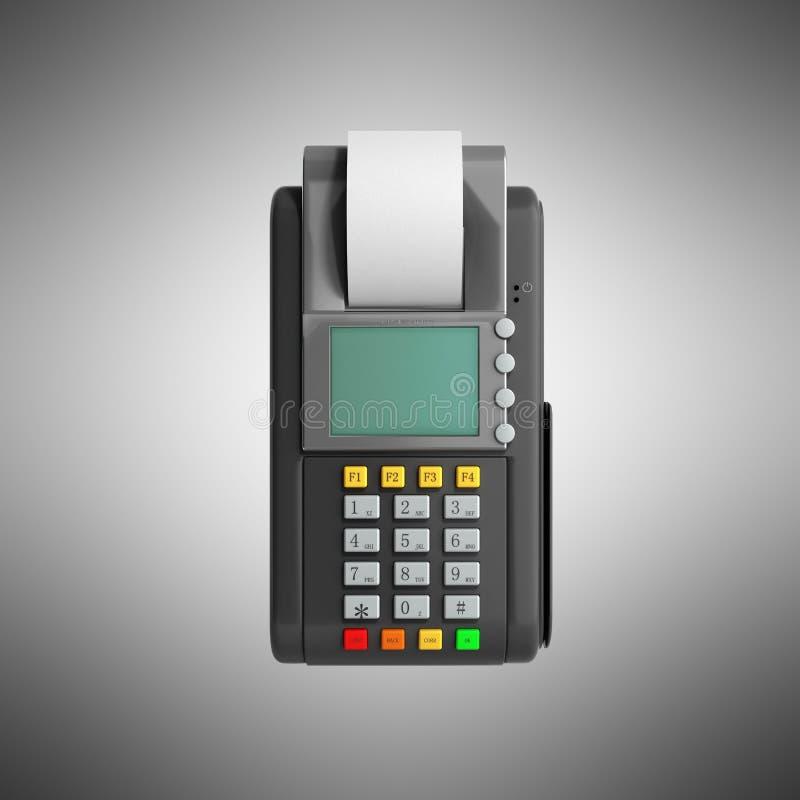 Kredytowej karty trminal Maszynowy 3D rendering na popielatym ilustracja wektor
