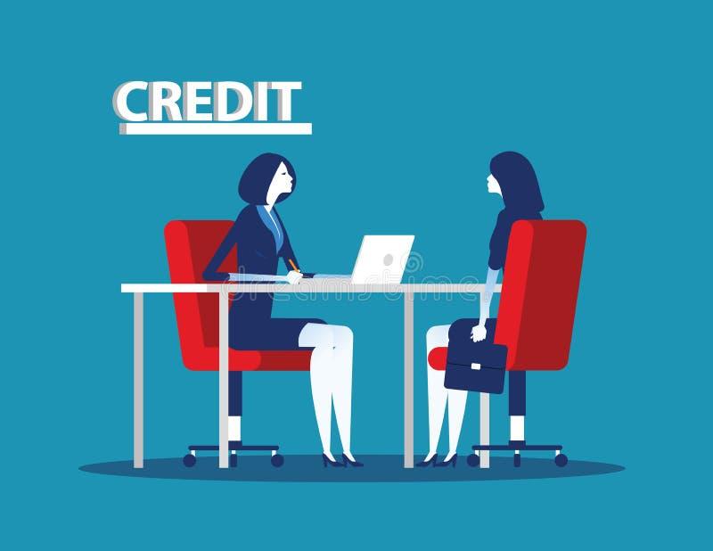 Kredytowy kierownika charakter przy banka biurem Poj?cie biznesowa wektorowa ilustracja royalty ilustracja