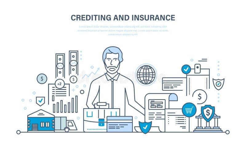 Kredytujący, majątkowy ubezpieczenie, pieniężna ochrona, działalność handlowa, finanse, biznes, technologia royalty ilustracja