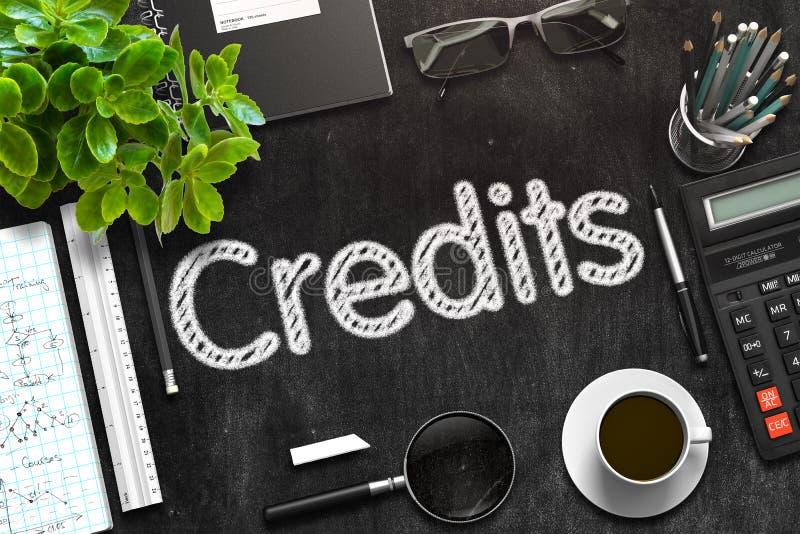 Kredyty na Czarnym Chalkboard świadczenia 3 d obrazy royalty free