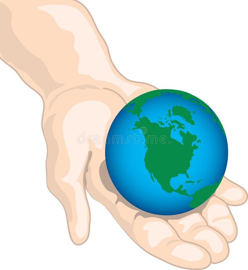 Kreeg de wereld in uw handen royalty-vrije illustratie