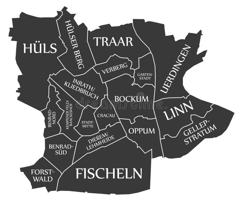 Krefeld City Map Germany DE Labelled Black Illustration Stock Vector