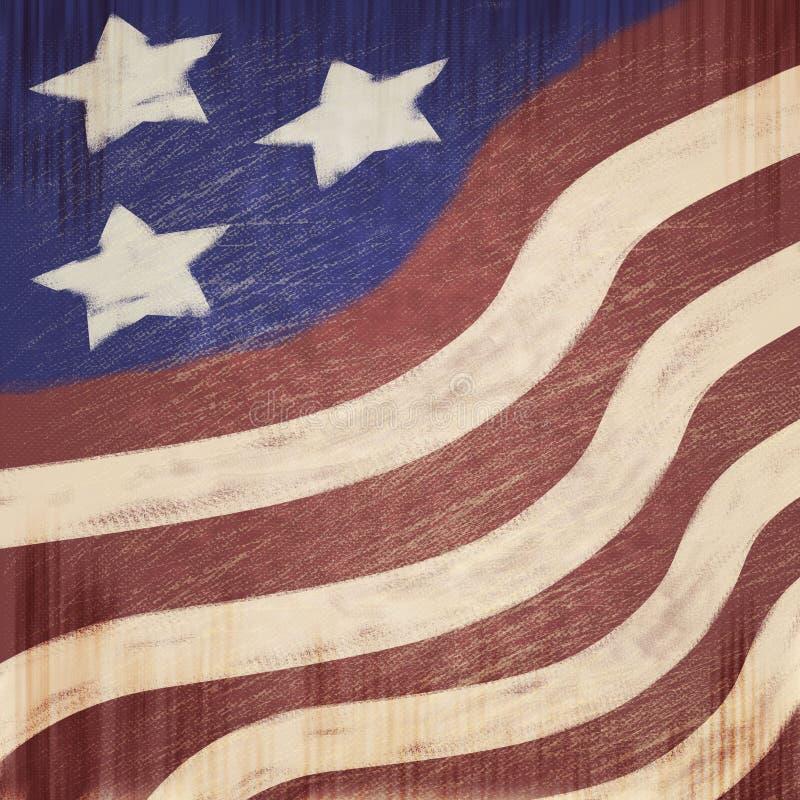 Kreide-Blick patriotisches USA-Sternenbanner verkratzter Blick-Schmutz-Hintergrund stockfoto