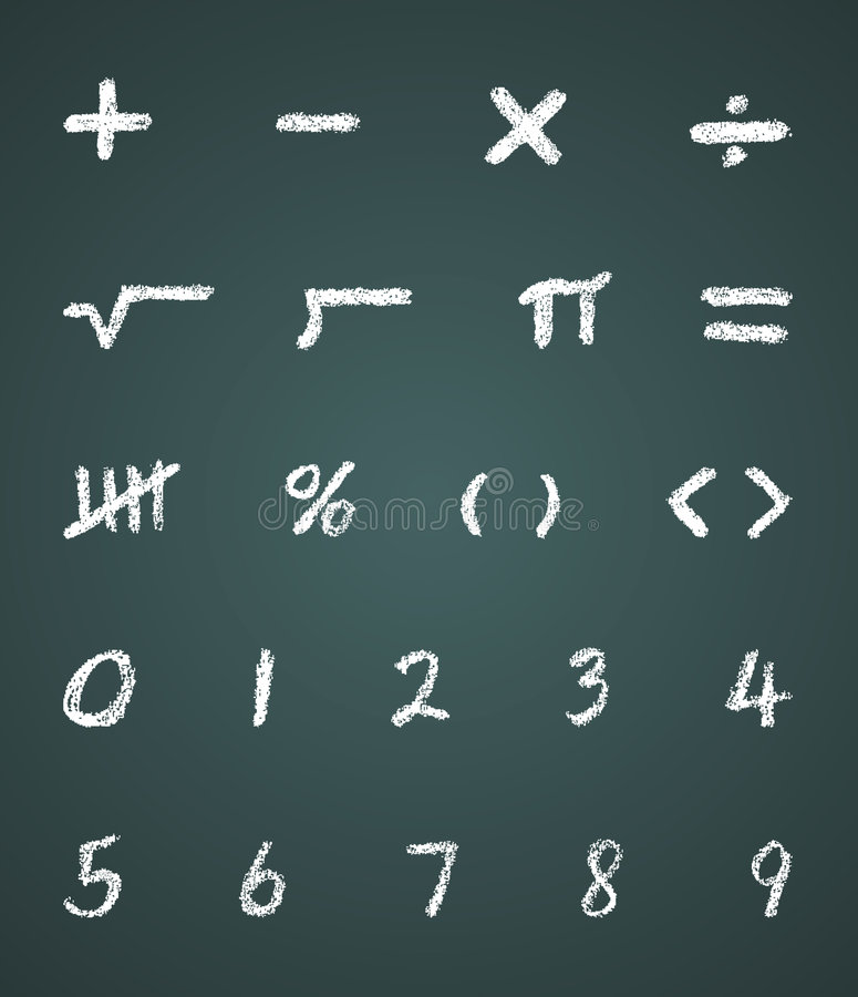 Kreide-vektormathe-Symbole und Zahlen lizenzfreie abbildung