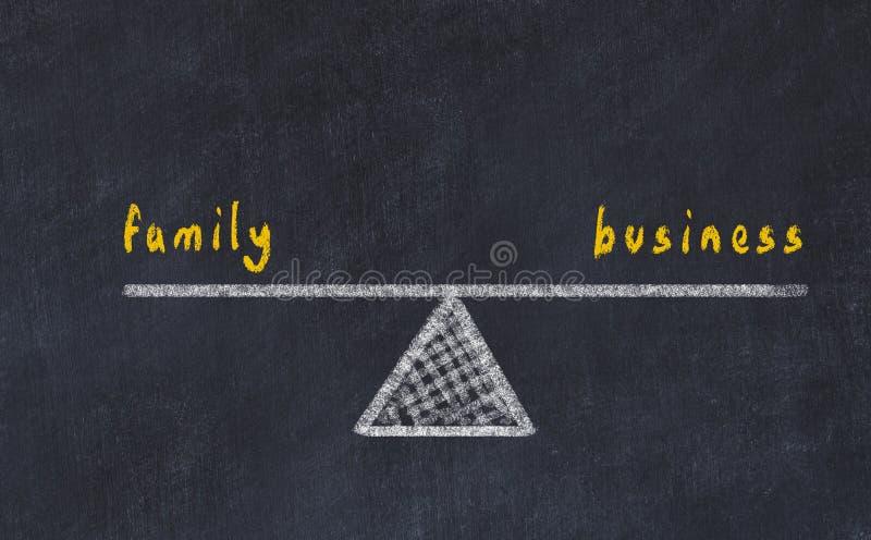 Kreidebrett-Skizzenillustration Konzept der Balance zwischen Familie und Geschäft vektor abbildung