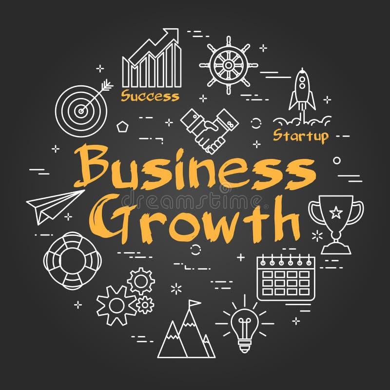 Kreidebrettkonzept - Geschäfts-Wachstum lizenzfreie abbildung