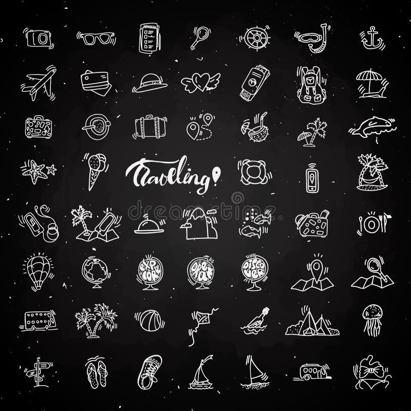 Kreideikonen des Reisehandabgehobenen betrages Ikone zeichnete Karikatursammlung über Abenteuer, Tätigkeiten im Freien, Strand, S stock abbildung