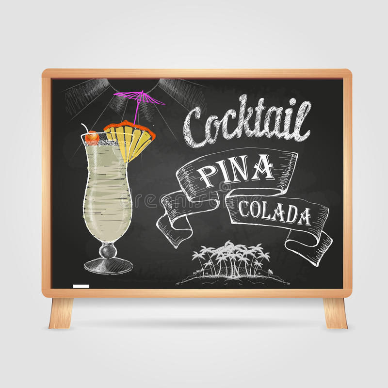 Kreidezeichnungen cocktail stock abbildung