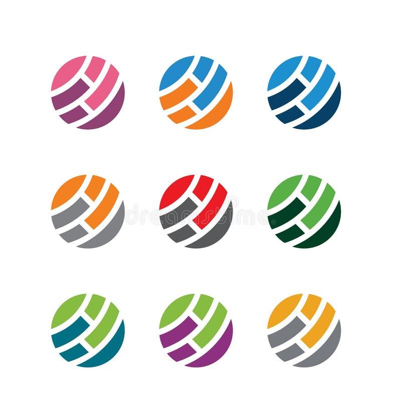 Kreis, Bereich, global, Welt, Sprache, Firma, Kommunikation, Verbindung, Technologie Satz der Alternative färbt abstrakten Ikonen vektor abbildung