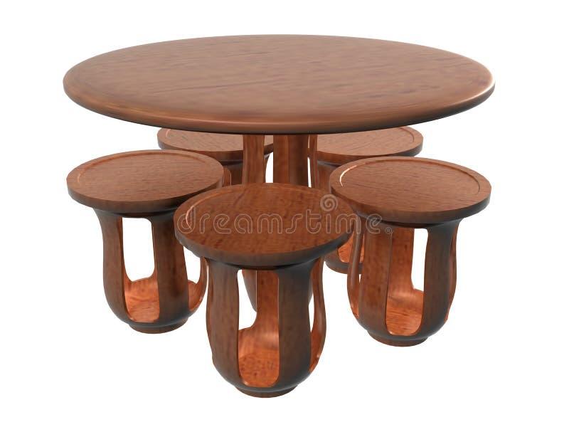 Kreis-Blumen-Tabellen-Stuhl Set_Raster vektor abbildung
