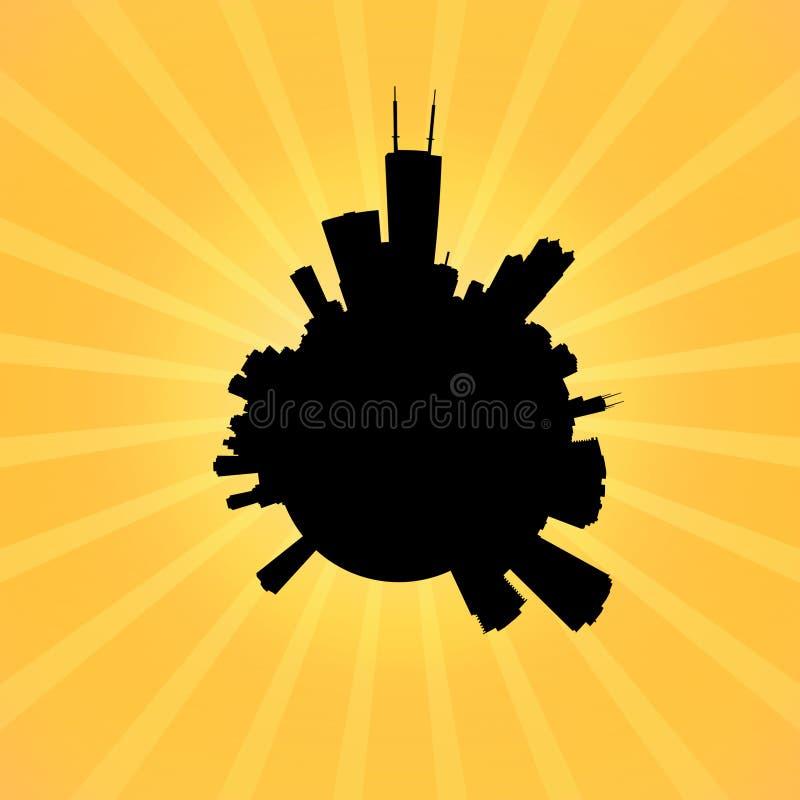 Kreis-Chicago-Skyline auf Sonnendurchbruchillustration lizenzfreie abbildung